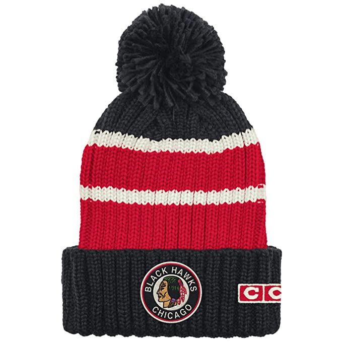 Image Unavailable. Image not available for. Color  Chicago Blackhawks Men s  CCM Cuffed Watch Pom Cap Knit Hat d859bc1ff4c