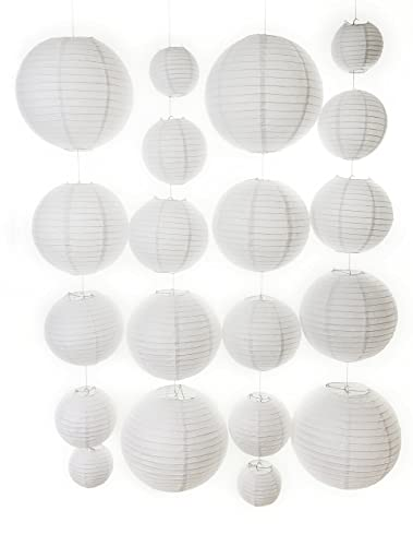 20 different sized paper lanterns and 20 led lights white chinese 20 different sized paper lanterns and 20 led lights white chinese paper lanterns aloadofball Image collections