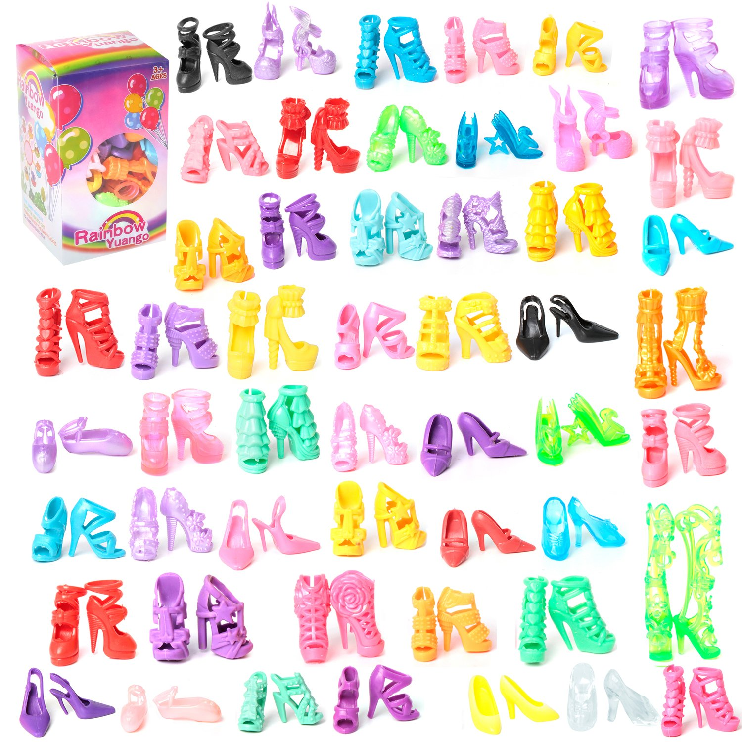 50 Pairs Different High Heel Shoes Boots Accessories For Barbie Doll Rainbow