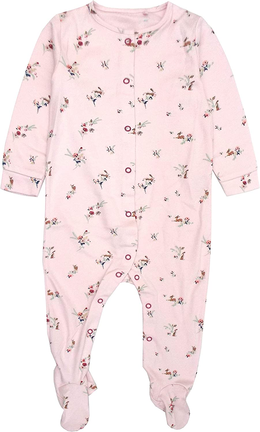 Baby Girls Babygrow Woodland Poppy Multi Print Pure Cotton Sleepsuit 0-18 Months