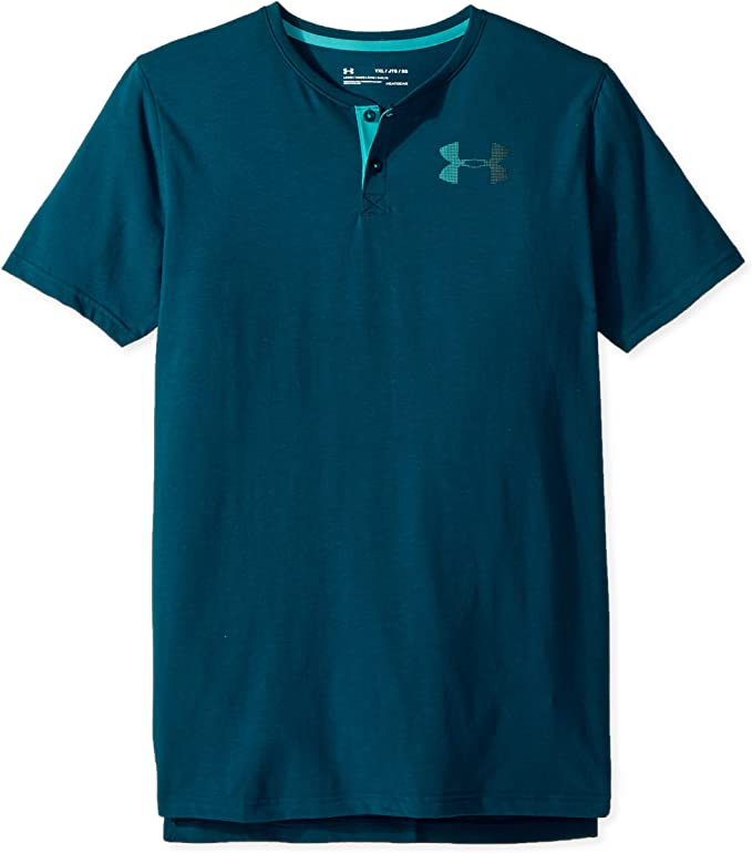 Under Armour Boys' Knit Short Sleeve Henley, Tourmaline Teal (716)/Teal Punch, Youth X-Small