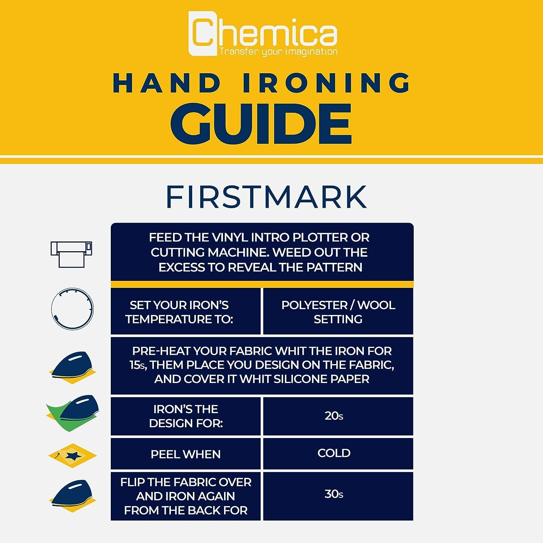 CHEMICA FirstMark HTV, rollo de vinilo de transferencia de calor de 12 pulgadas por 15 pies para camisetas y otros tejidos, planchado, flexible, compatible con Cricut, silueta Cameo/Retrato, fácil de malezar, PVC: