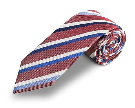 Corbata roja rayas azules, fabricada a mano, 100% seda, el epítome ...
