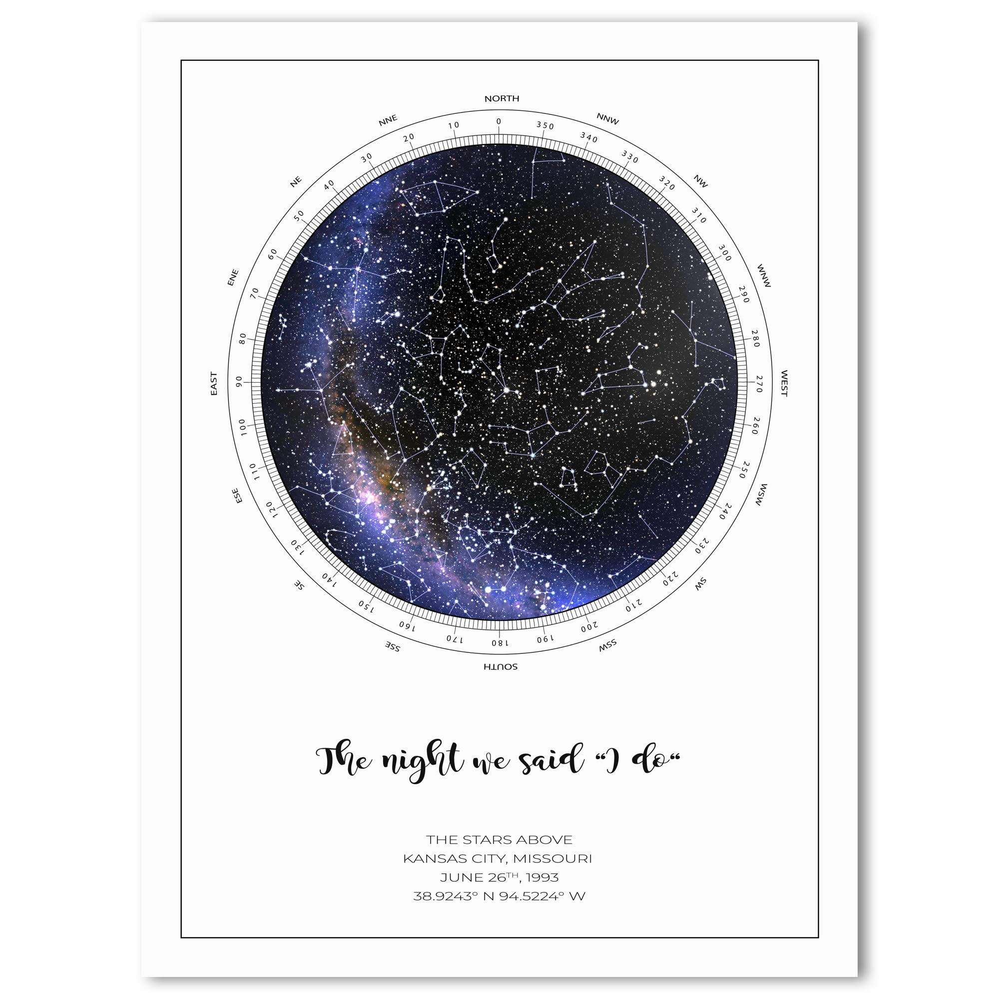 Valentines Day Personalized Star Map Constellation Print Custom Night Sky Poster