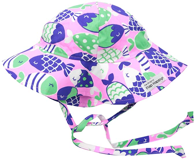 4c65218d57e Flap Happy Baby Girls UPF 50+ Floppy Hat, Fish Bliss, X-Small