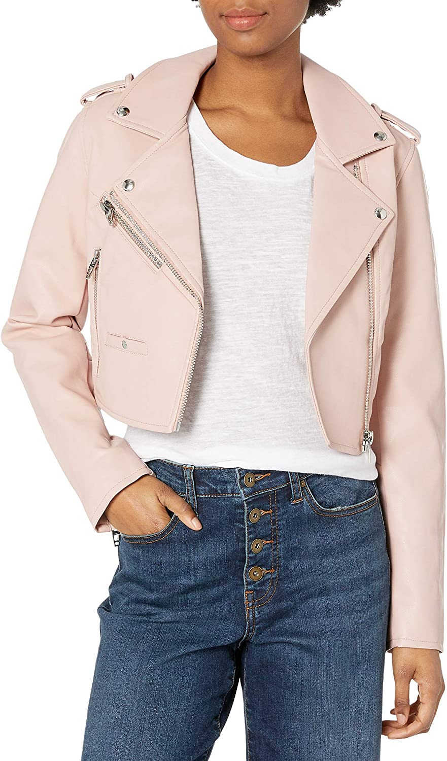 Image of [BLANKNYC] Women's Cropped Vegan Leather Moto Jacket Casual Jackets