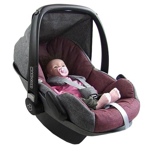 BAMBINIWELT Ersatzbezug für Maxi-Cosi PEBBLE 5-tlg, Bezug für Babyschale, Komplett-Set *NEU* GRAU/BORDO *NEU*