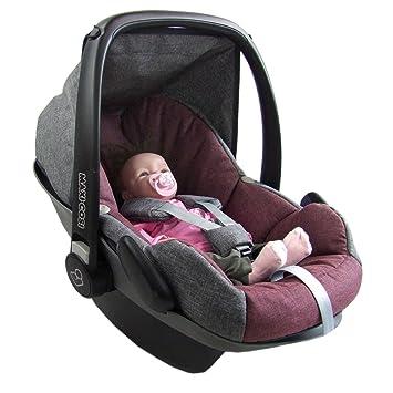 BAMBINIWELT Ersatzbezug Babyschale Maxi-Cosi PEBBLE GRAU BLAU HERZEN