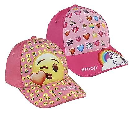 Pack 2 gorras de tela adaptables 2 diseños diferentes EMOJI rosa y ...