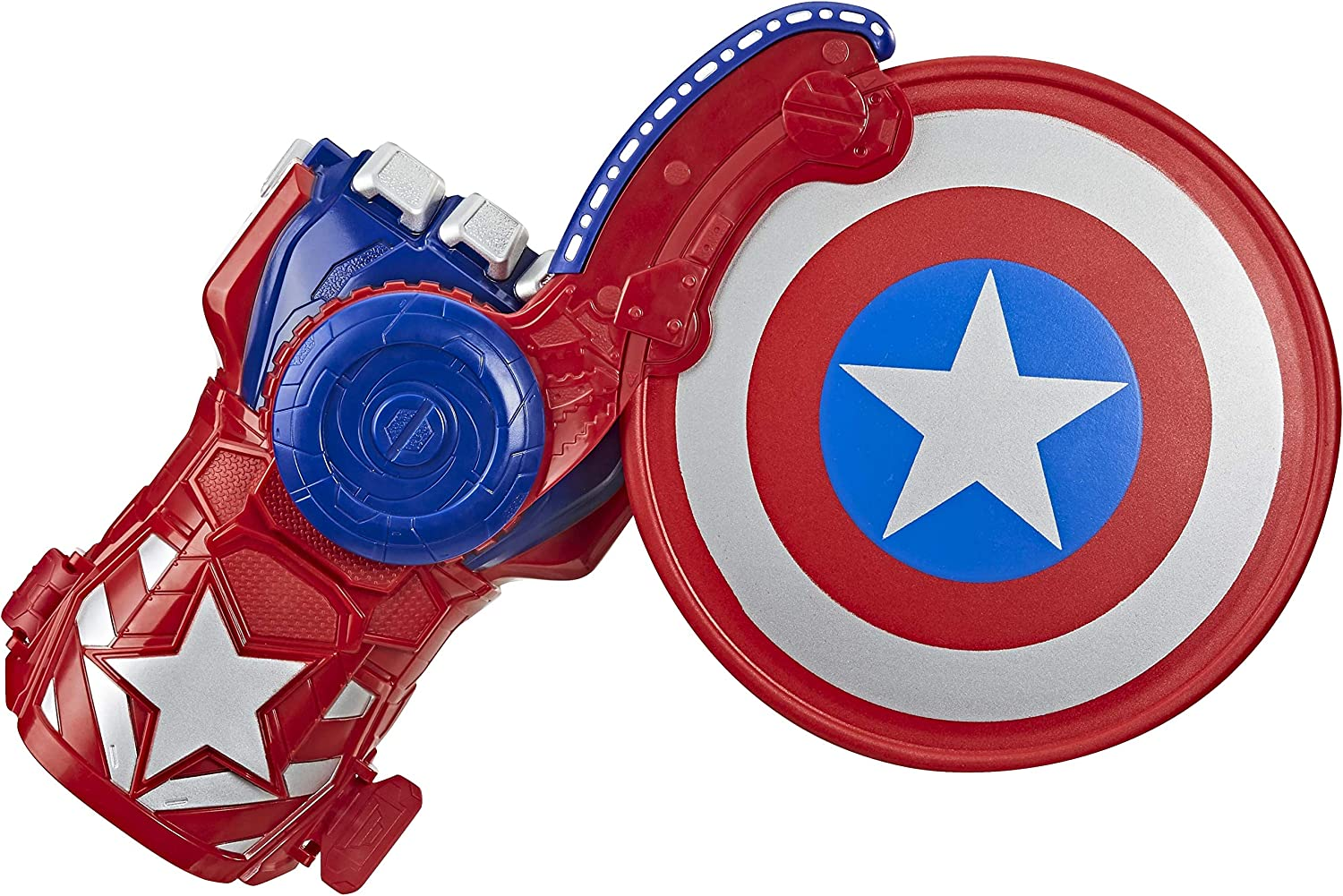 Toys for Kids Ages 5 and Up Nerf Power Moves Marvel Avengers Captain America Shield Sling Nerf Disc-Launching Toy for Kids Roleplay