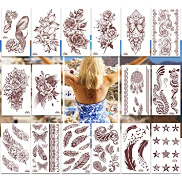 Amazon.com: Temporary Tattoos Pack of 16 Sheets for Women Teens ...