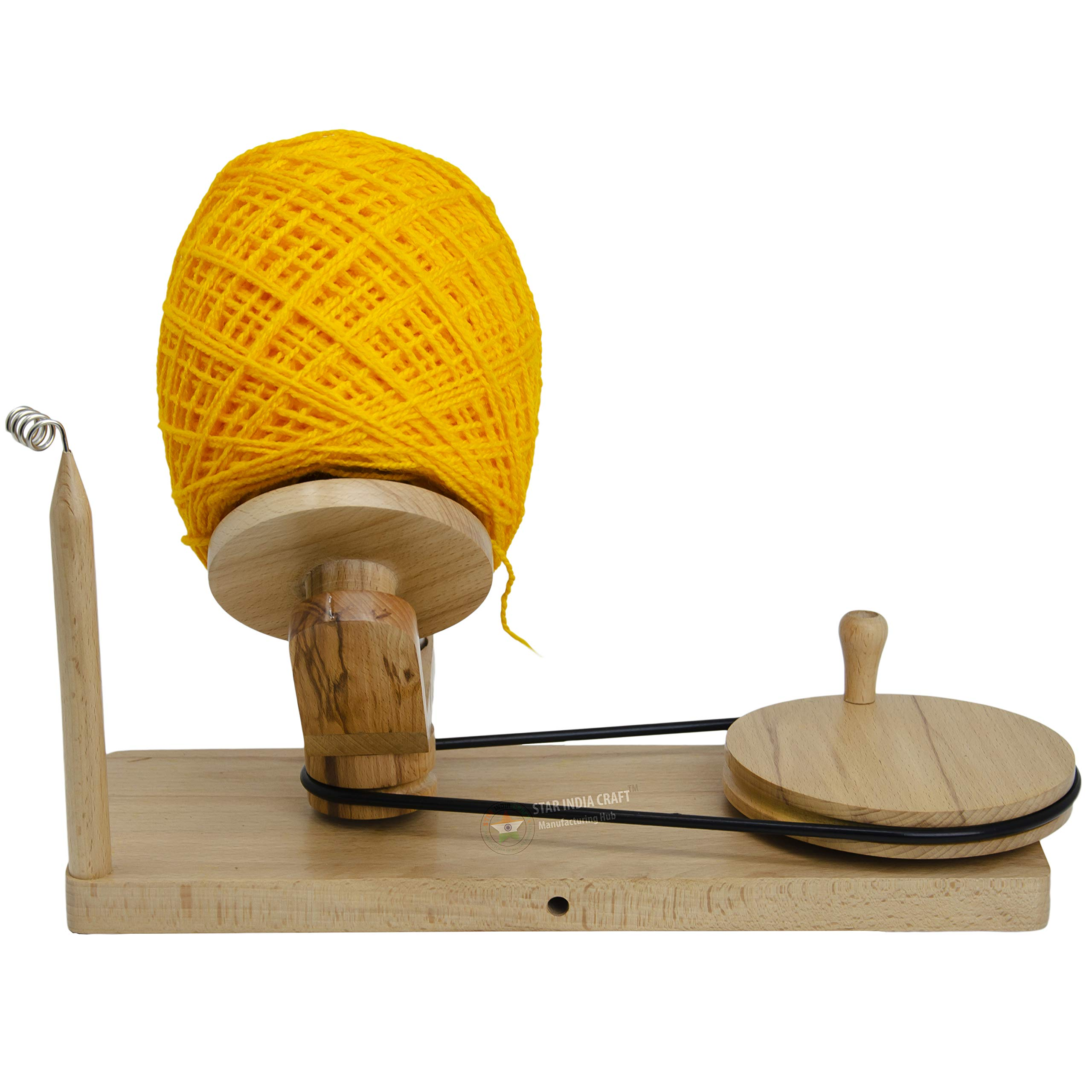 STAR INDIA CRAFT Handmade Center Pull Yarn Ball Winder - Natural Yarn Winder | Perfect DIY Knitter's Gifts for Knitting and Crocheting | Handcrafted Ball Winder (Yarn Winder, Standard) by STAR INDIA CRAFT (Image #4)