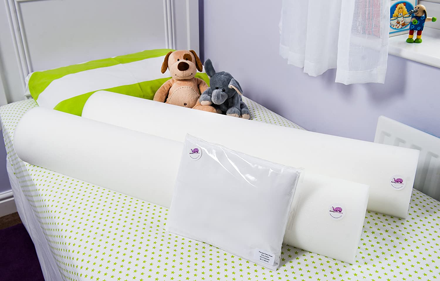 The Big Bed Tadpole Pack - 2 x 100% British NURSERY GRADE cot safe foam bed guard bumpers & Percale sheet Acosy Bumpers Ltd BBTP