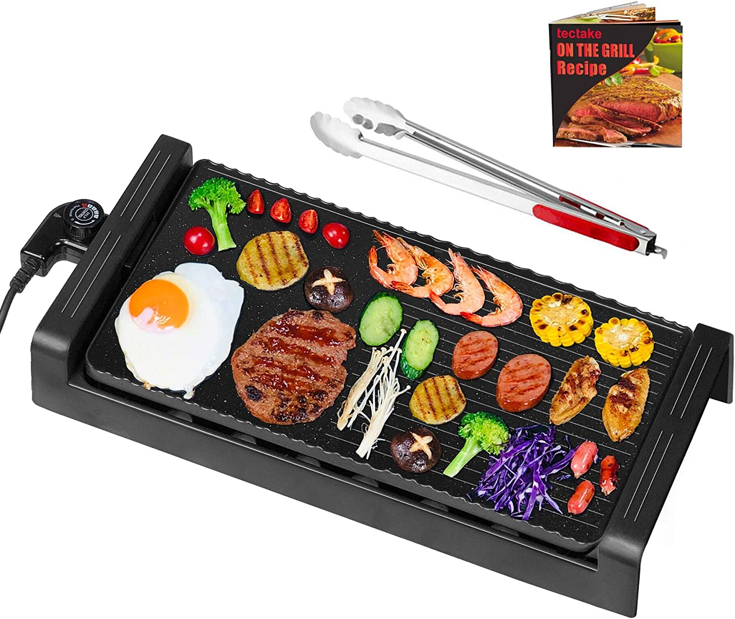 Electric Griddle Grill Indoor - Nonstick Korean BBQ Flat Grills Extra Large, Family-sized Pancake Griddles, Less Smoke, 5 Thermostat Modes, with Receipts, Black