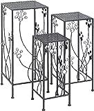 Deco 79 63344 3-Piece Metal Outdoor Plant Stand Set, Square