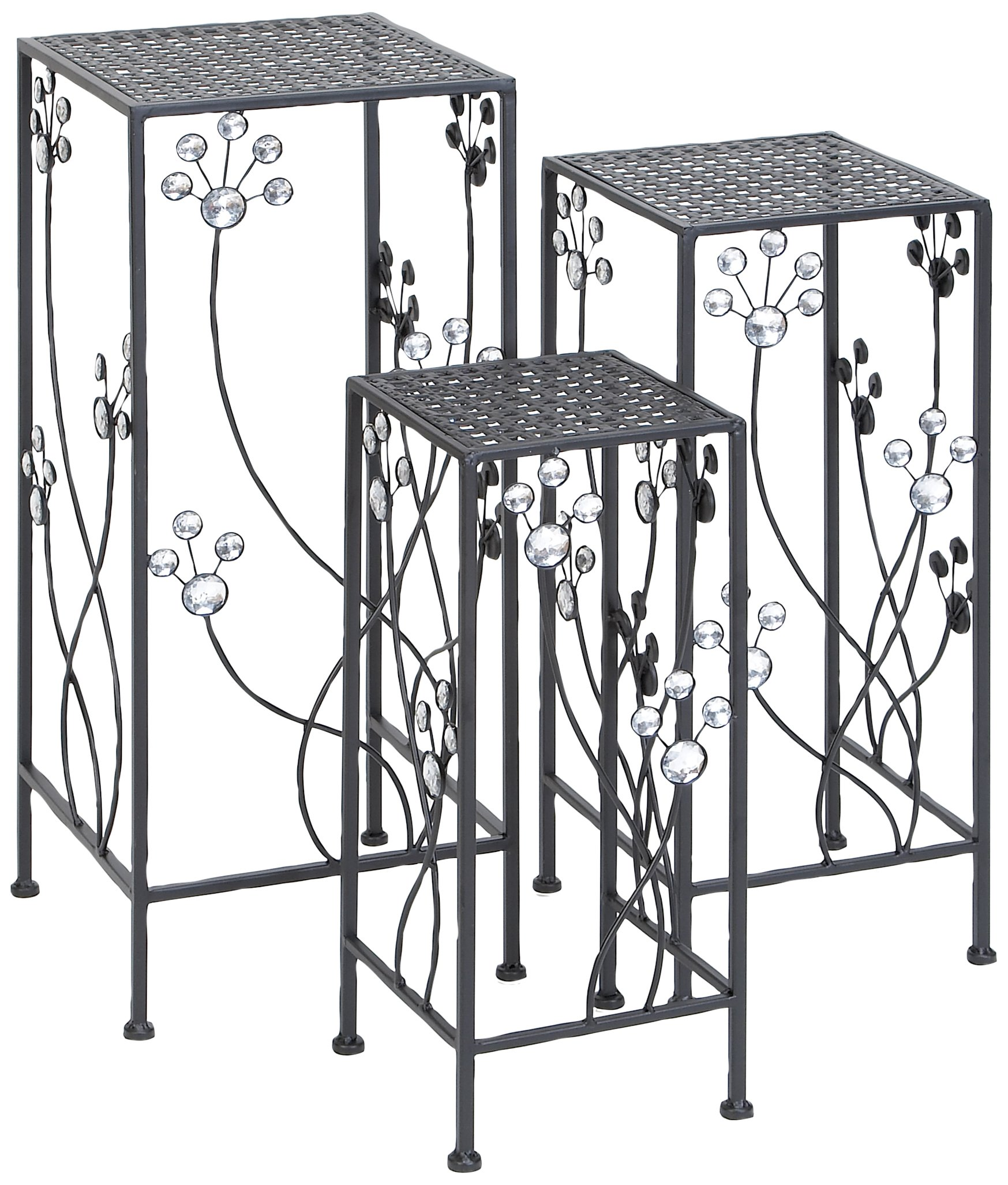 Deco 79 63344 3-Piece Metal Outdoor Plant Stand Set, Square