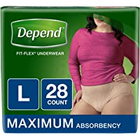 Depend FIT-FLEX Incontinence Underwear for Women, Maximum Absorbency, L