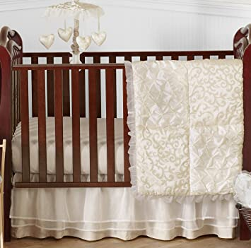 Champagne And Ivory Victoria Baby Bedding 4 Piece Girl Crib Set Without  Bumper