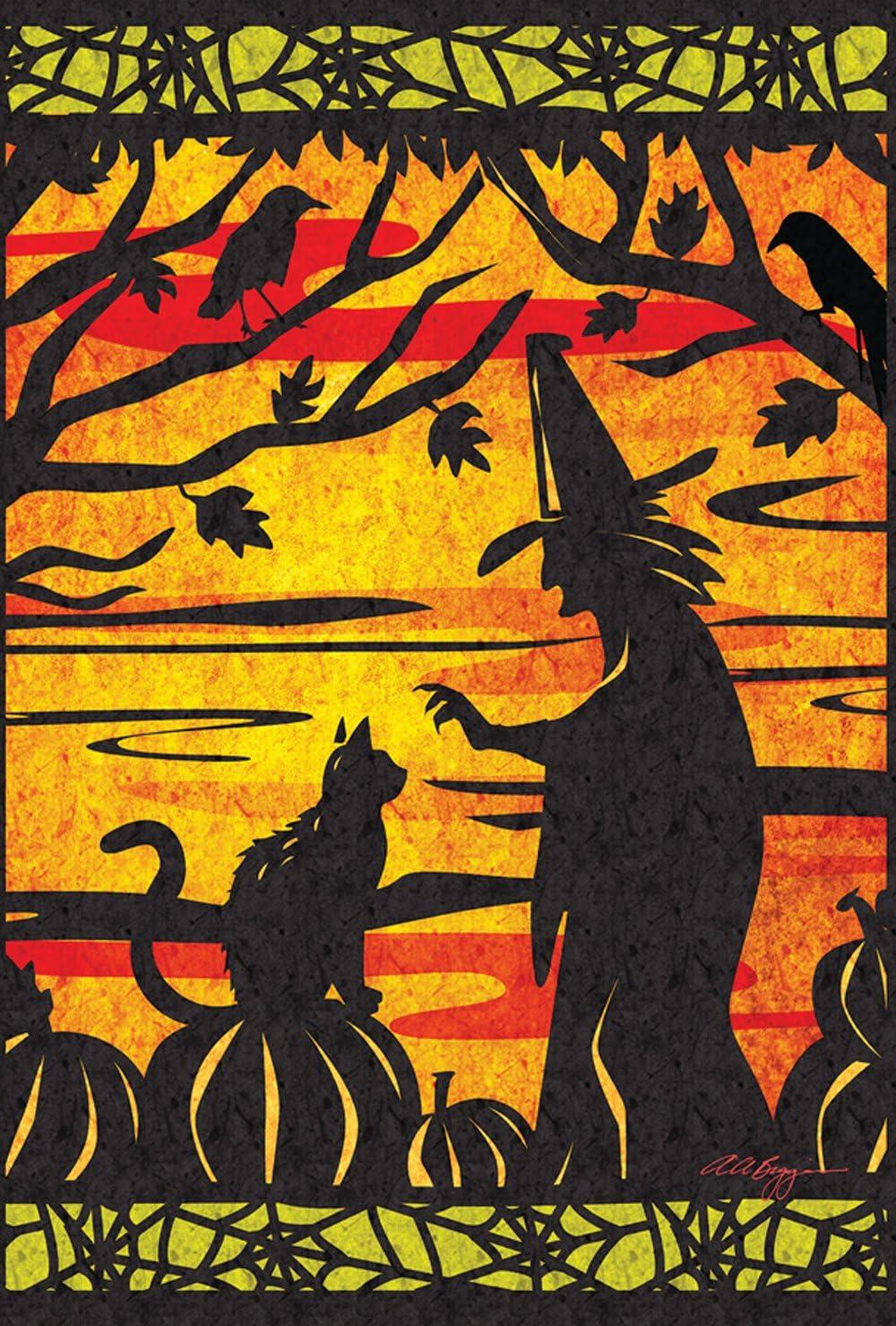 Toland Home Garden Witch's Best Friend 28 x 40 Inch Decorative Halloween Witch Cat House Flag