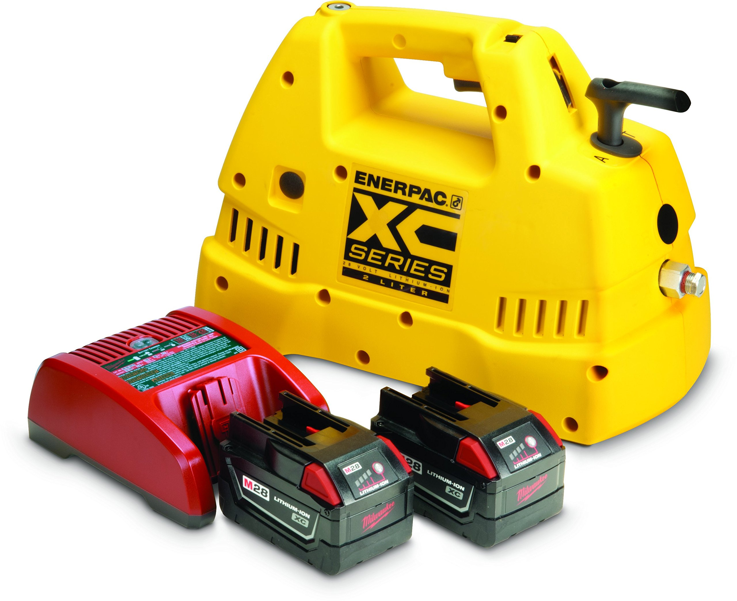 Enerpac XC1202MB Cordless Hydraulic Pump, Single Acting Valve, 2.07 quart Oil Capacity, Battery and Charger Included, Yellow