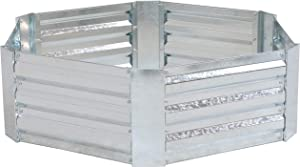 Sunnydaze Metal Raised Garden Bed - Corrugated Galvanized Steel - 41.5-Inch x 11.75-Inch Hexagon Metal Raised Garden Bed for Vegetables, Plants, and Flowers - Silver