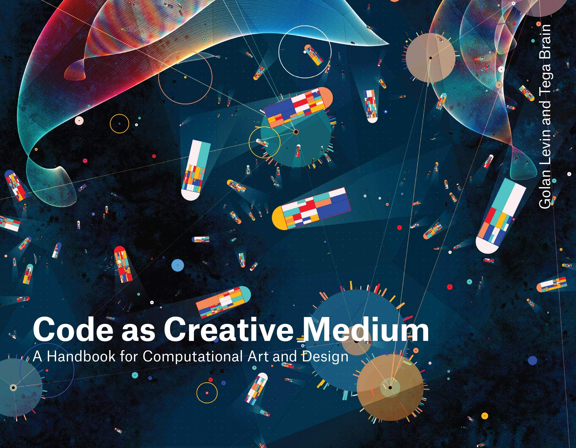 The cover of Code as Creative Medium, featuring an abstract illustration of shapes in a field of color.