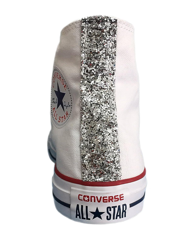 Converse All Star con tessuto glitter argento su tallone e