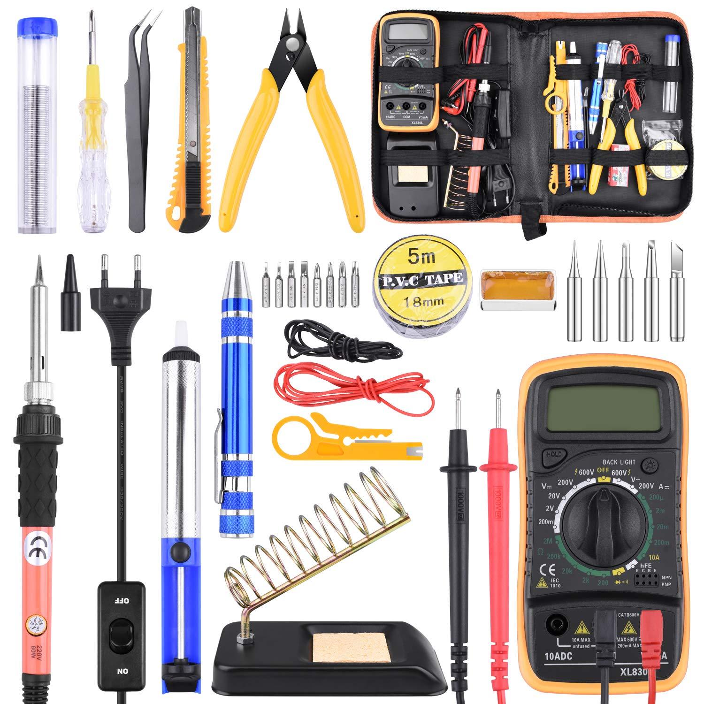 Kit de Soldador Estaño con Multímetro 24 Piezas, Kit de Soldadura Completo para Trabajos de