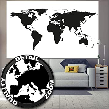 GREAT ART XXL Póster – Mapa Mundial en Blanco y Negro – Mural ...