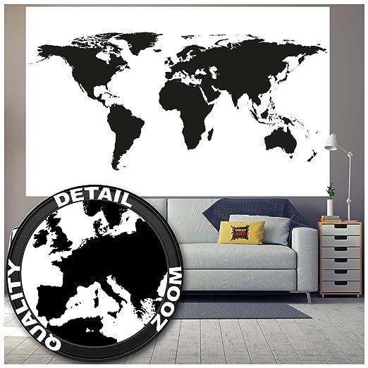 Great Art XXL Poster Mapa del Mundo Decoración Blanco y Negro decoración Mural Mapa continentes Mapa del Mundo Planeta Tierra geografía del Mundo | ...