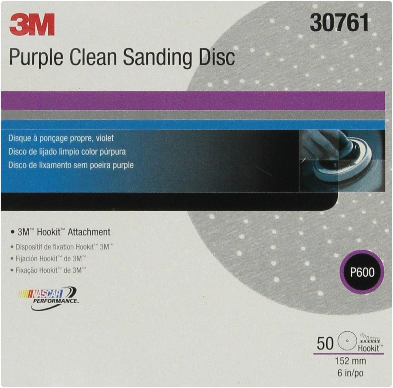 "3M 30761 Hookit 334U Purple 6"" P600 Grit Clean Sanding Disc"