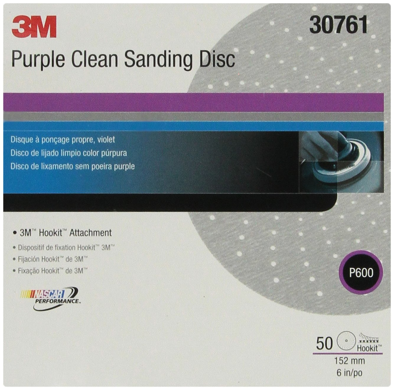 3M 30761 Hookit 334U Purple 6'' P600 Grit Clean Sanding Disc