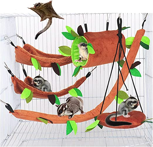SEIS 5 Pcs Sugar Glider Hammock Set Pet Hanging Cage Accessories Leaf Design Small Animal Hammock Channel Ropeway Swing for Ferret Birds Parrot Squirrel