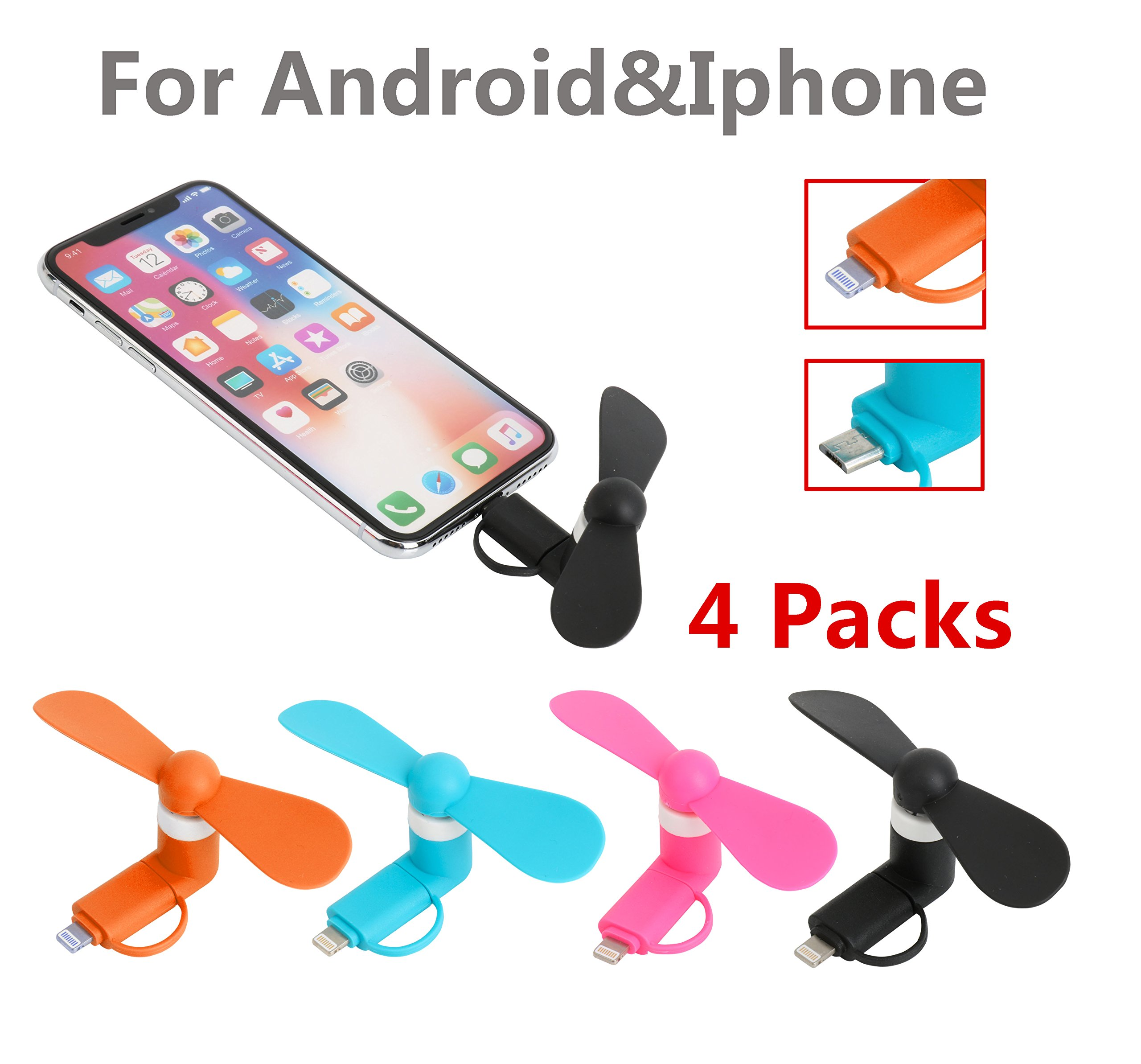 4 Packs 2-in-1 Portable Mini Fan Mobile/Smartphone Fan - Portable and Compatible for iPhone/iPad, Android Phone, Colorful Set of 4 - Pink/Blue/Orange/Black - Summer Cell Phone Accessories (4-pack)