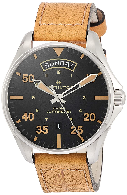 ab2b6cb7c88 Amazon.com  Hamilton H64645531 Khaki Aviation Day Date Men s Watch Tan  Leather 42mm  Watches