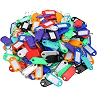 AUTOUTLET 200PCS Key ID Labels Tags with Key Ring Split Rings for Home Motel Company Facility, 8 Colors 25PCS Each Color
