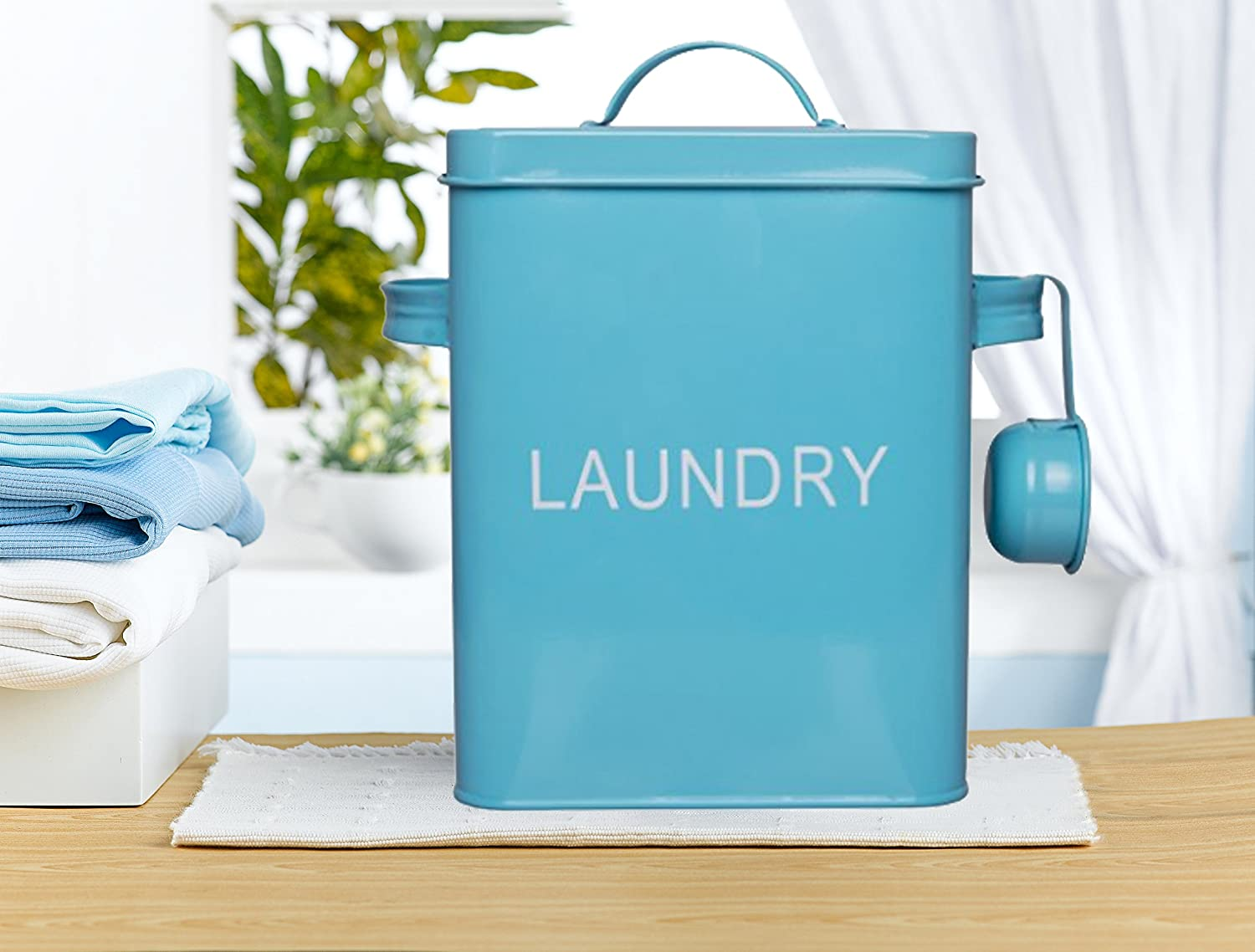 A Turquoise Washing Detergent Container is Just One of Many Clever Ideas for Laundry Room