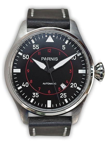 2058 PARNIS rhöna-Reloj de aviador para Hombre modelo con correa de acero inoxidable movimiento