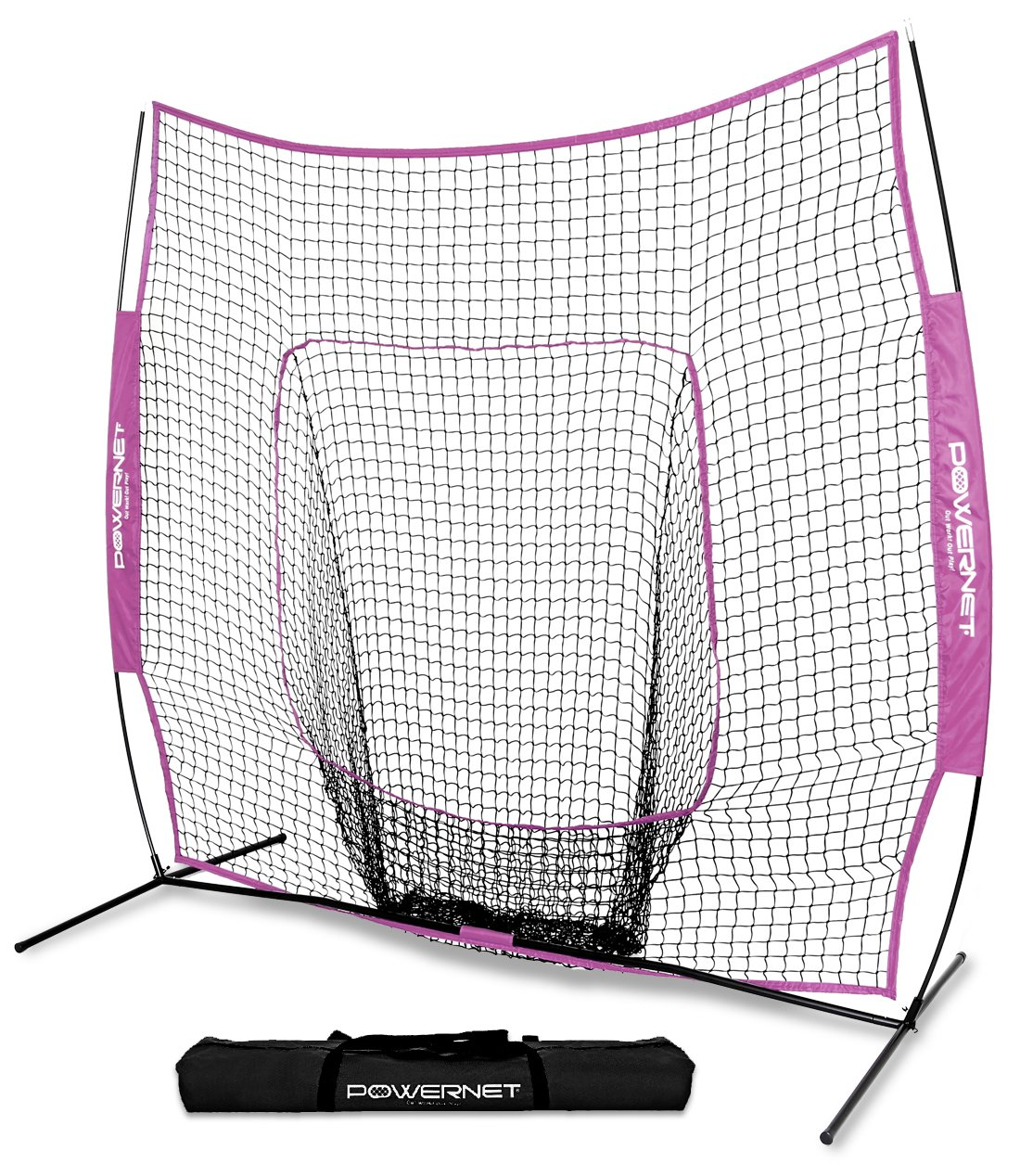 PowerNet Team Color Baseball Softball 7x7 Hitting Net w/Bow Frame (Pink) by PowerNet