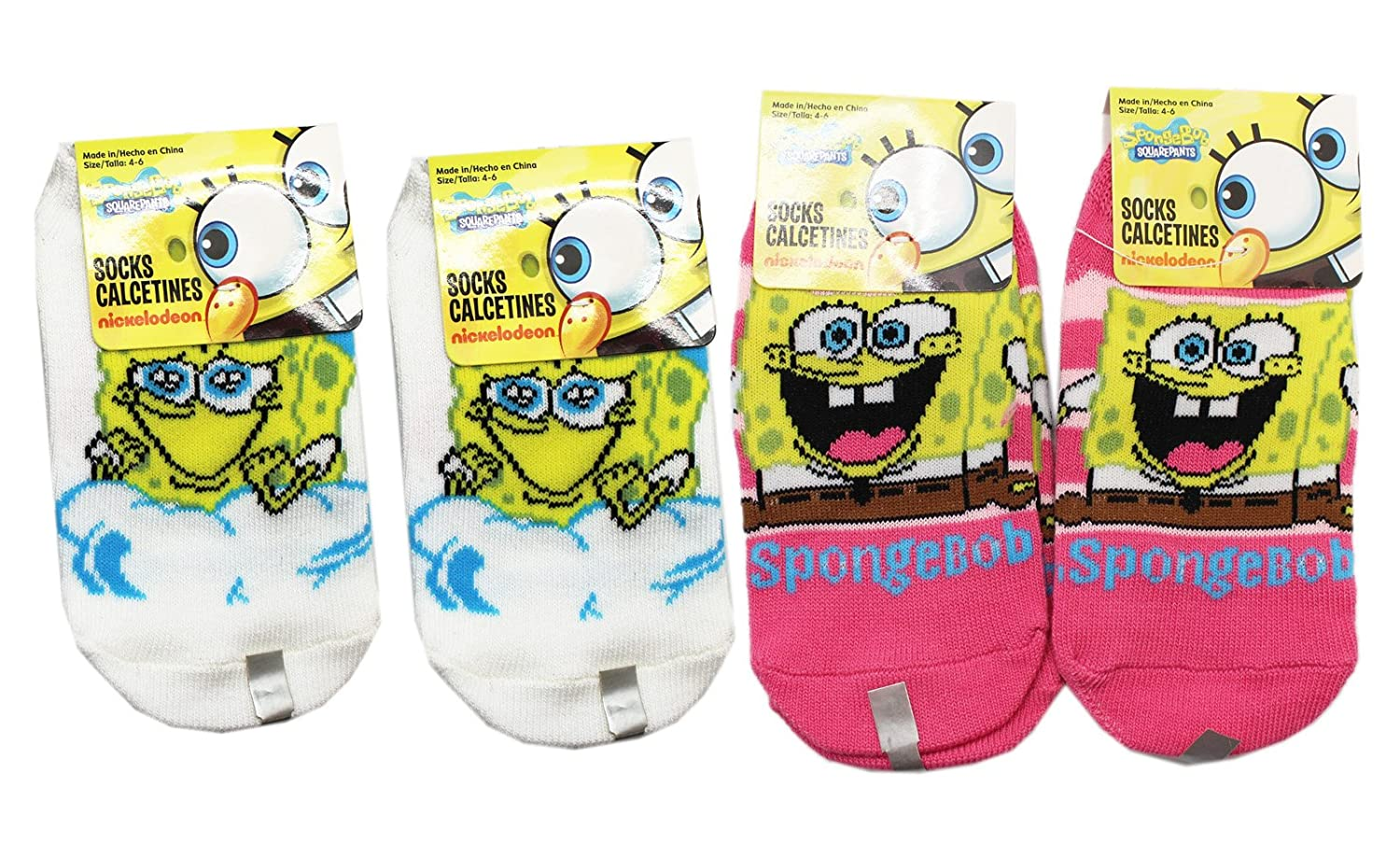 Amazon.com: Spongebob Squarepants Happy Sponge Assorted Kids Socks (3 Pairs, Size 4-6): Clothing