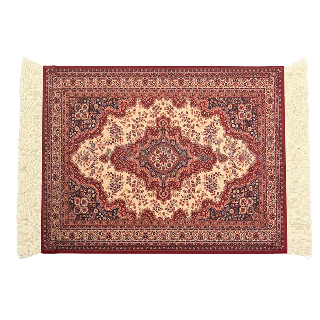 SODIAL(R) 28x18cm Persian Rug Mat Mousepad Retro Style Carpet Pattern Mouse Pad Red 106915