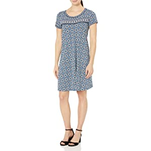 Lark & Ro Amazon Brand Women's Short Sleeve Scoop Neck T-Shirt Dress