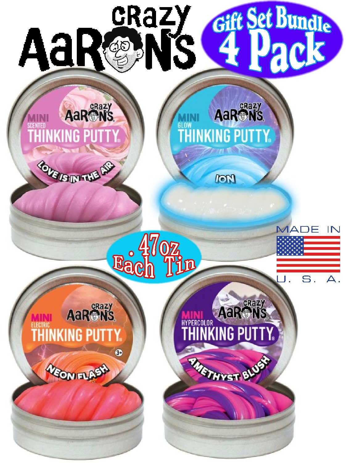 Crazy Aaron's Thinking Putty Mini Tins (.47oz each) Neon Flash, Love is in the Air, Amethyst Blush & Ion Gift Set Bundle - 4 Pack by Crazy Aaron's