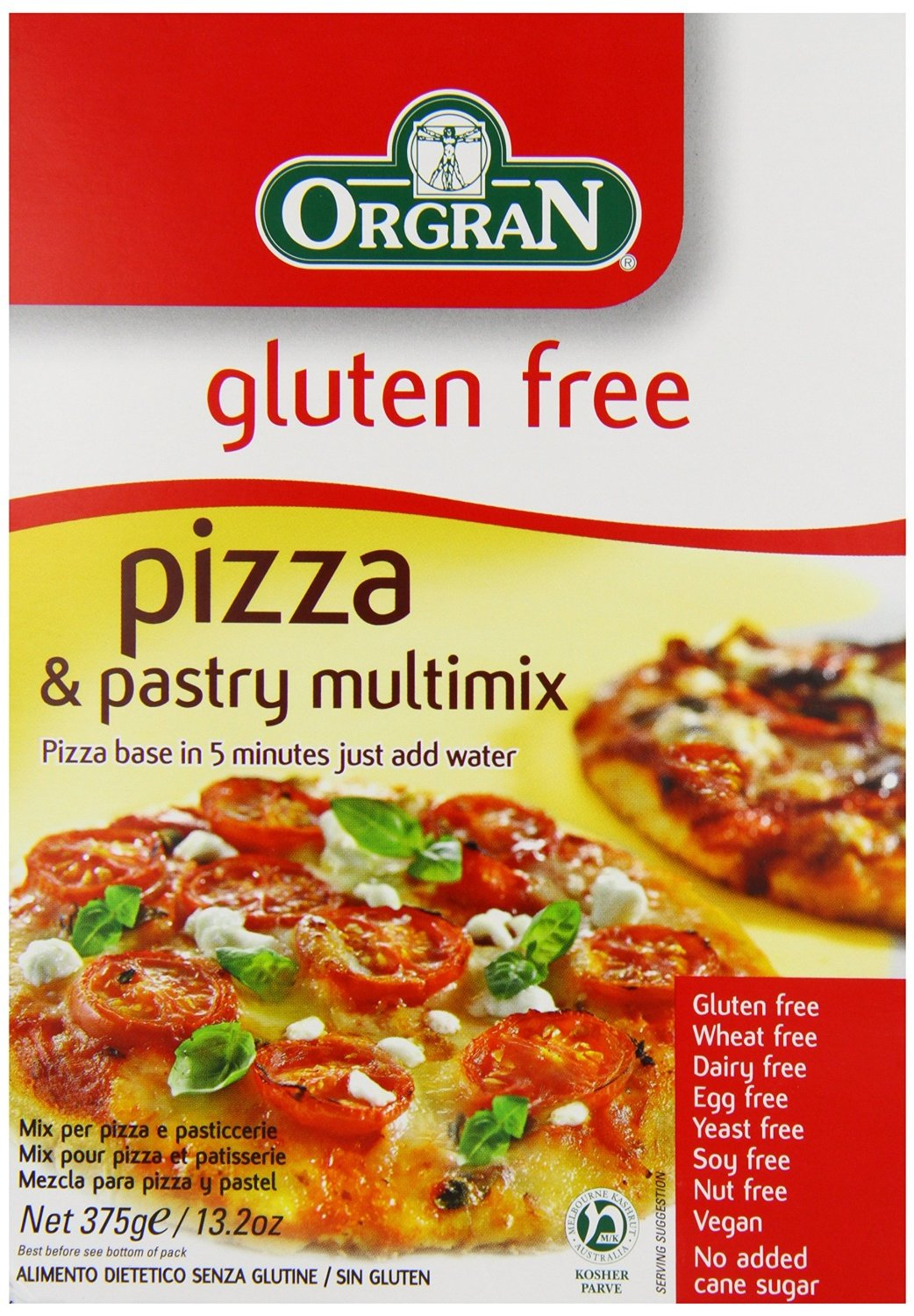 Orgran Pizza & Pastry Mix 375 g (order 8 for trade outer) ORG028