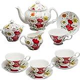 Grace Teaware Bone China 11-Piece Tea Set (Poppy Field)