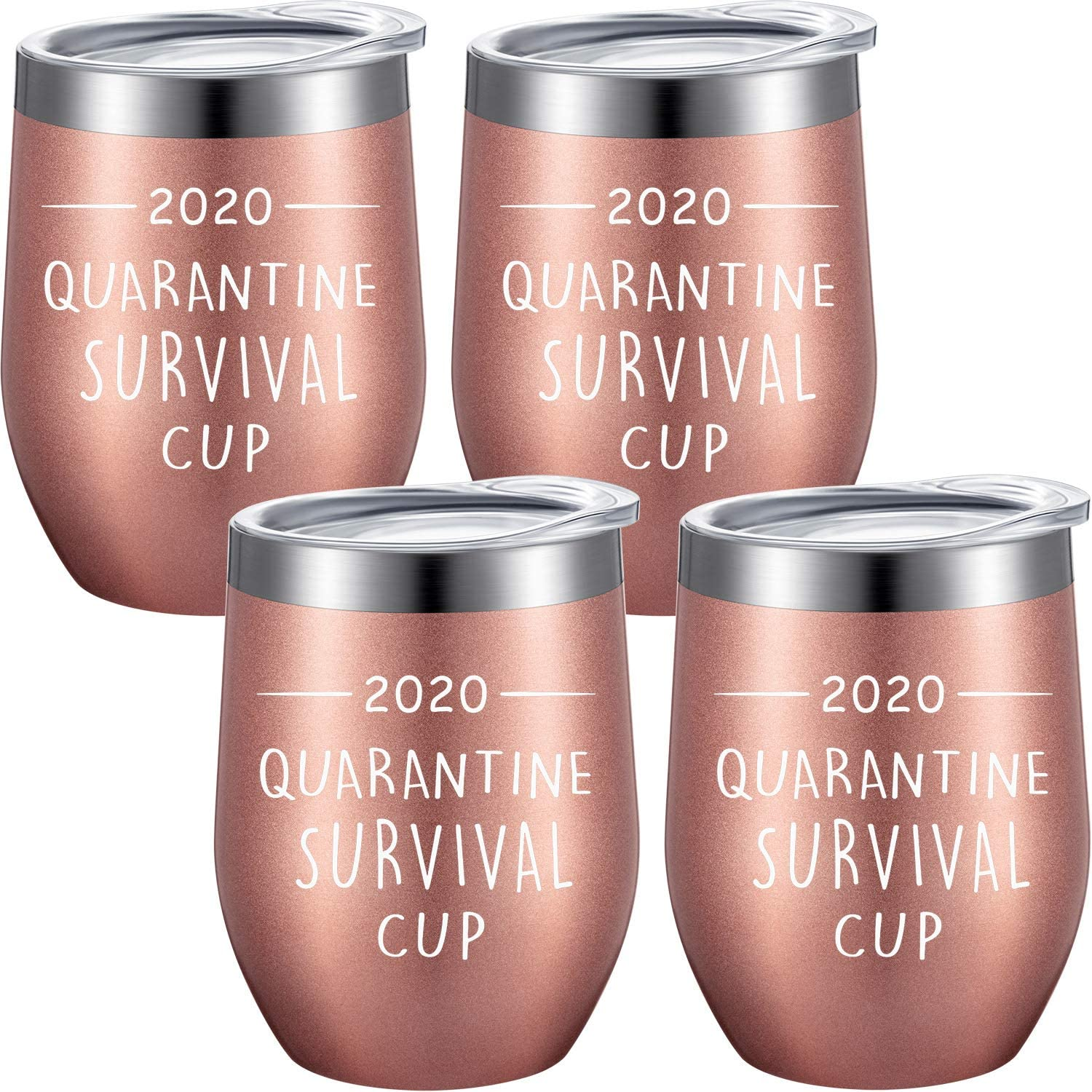 4 Pieces Novelty Quarantine Coffee Cups, 2020 Quarantine Survival Cup, Funny Stay at Home Gift for Families, Friends, Coworkers, Colleagues, 12 oz Vacuum Insulated Wine Tumbler with Straw and Brush