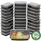 16 Pack - SimpleHouseware 1 Compartment Reusable Stackable Meal Prep Containers Dishwasher, Freezer, Microwave Food Safe, 28 Ounces 透明 32 Eco Pack - $0.79/Count