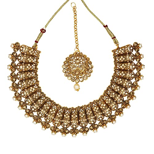 734fe35ea2c Buy SADHANA COLLECTION White Gold-Plated Traditional Kundan and Pearl  Choker Necklace Set for Women Online at Low Prices in India