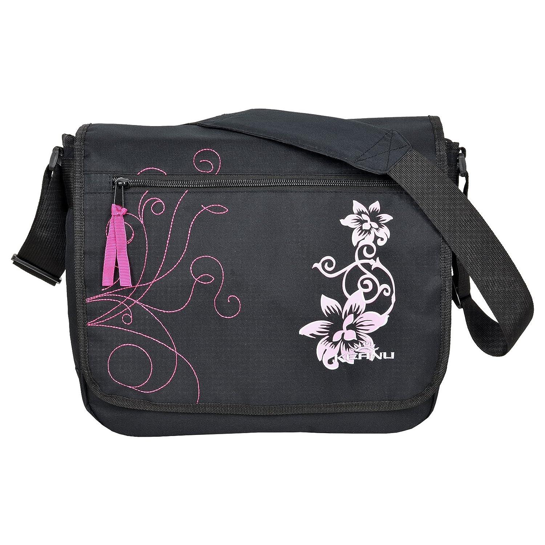 TRENDIGE Din A4 Hibiskus Flowers Umhängetasche KEANU Laptop Messenger Bag mit Organizerfach Schultertasche Schultasche Schwarz Pink 895421
