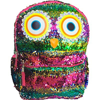 "Rainbow Owl 2-Way Reversible Sequins Surprise 16"" Fashion Backpack 